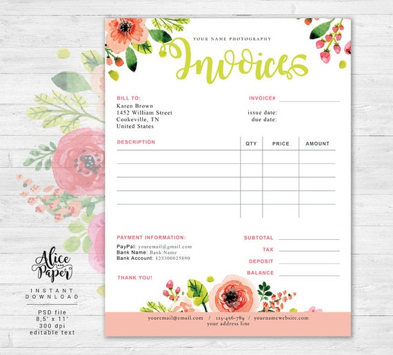 Invoice Template Photography Invoice Business Invoice - Florist invoice template