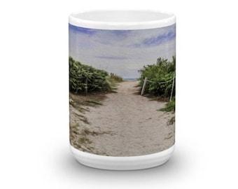Path to the Beach Coffee Mug, Paths, Beach Sand, Green Shrubs, Blue Sky, Ocean in Distance, White Clouds, Tea Mug Cup Drink ware, Seashore