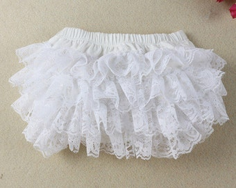 White Lace Infant Diaper Cover Bloomers