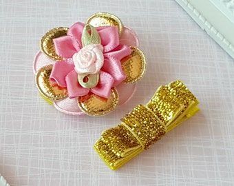 Baby Clip - Infant Toddler Clip -  Baby Clips Set of 2  - Padded Gold and Pink Flower - Gold Mini double Tuxedo Bow.