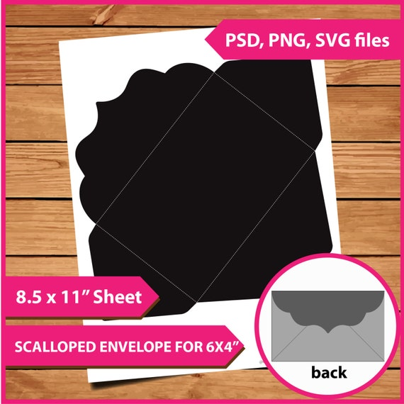 8 5 x 11 envelope template - scalloped envelope layer template instant download psd png