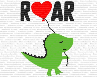 dino with balloon roar, SVG, eps, png, jpeg, dxf, vector, cut file, digital download