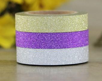 Skinny Glitter Washi Tape Set- Set of 3 Thin Narrow Tapes