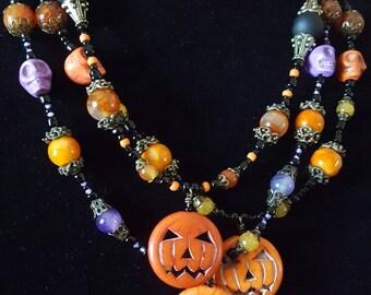 Jack~O~Lantern Pumpkin Beaded Necklace