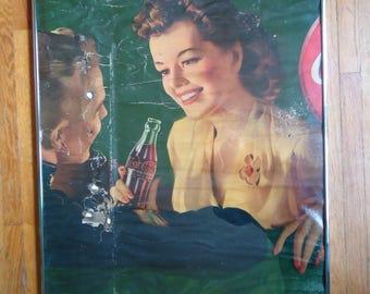 1943 Coca Cola Lithograph - Retro Advertising - Salvaged sign - Vintage Advertisement - Coca Cola decor - Rustic decor - Coca Cola ads - Art