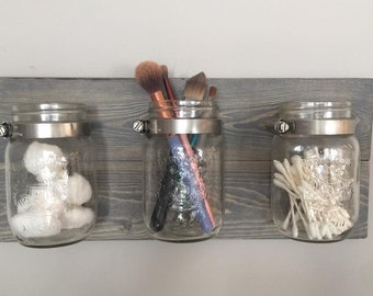 Mason Jar Wall Decor, Mason Jar Organizer, Rustic Mason Jar Decor, Makeup Organizer, Desk Organizer, Bathroom Organizer, Office Organizer