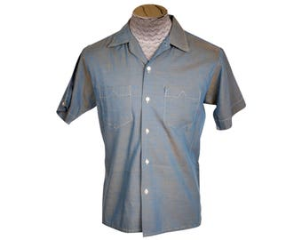 Vintage 1960s Two Toned Sharkskin Shirt Casual Short Sleeved Mens Size M