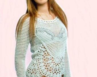White sweater for summer  crochet / custom
