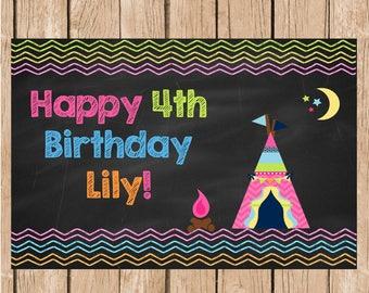 Girls Camping Vinyl Birthday Banner