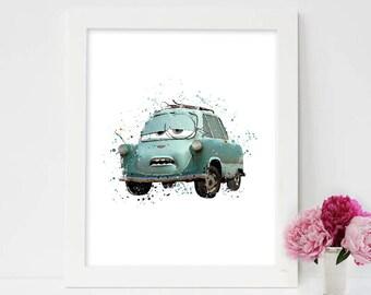 Disney Cars,Disney Cars Professor Z, Disney Cars Print, Disney Cars Decor, Disney Cars Print, Disney Print, Disney Watercolor, disney decor