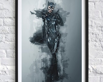 Batman Returns - Catwoman 'Watercolor' A4 Print