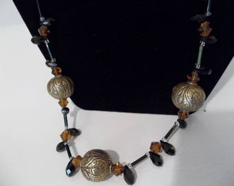 Antique Tibetan Brass beads with crystal necklace
