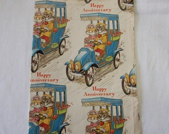 Vintage | Richard Scarry Style | Happy Anniversary | Wrapping Paper | Sheet #1