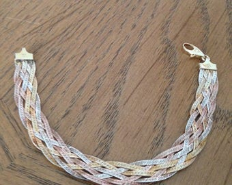 Sterling Braided Tricolor Bracelet