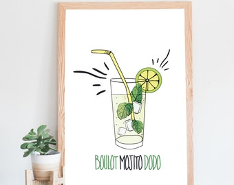 Poster Mojito, cocktail, mojito dodo, relaxation and humorous work, illustration, typography