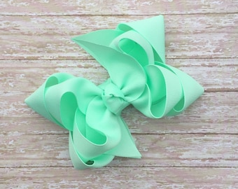 Double stacked boutique hair bows, double layer hair bows, mint double stacked hair bows, girls hair bows, 5 inch hair bows, mint hair bows