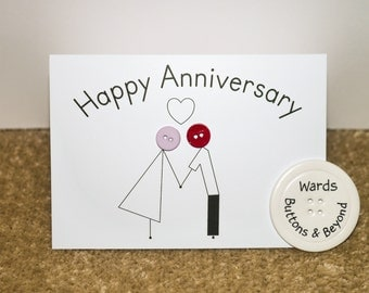 Happy Anniversary Button People Greetings Card