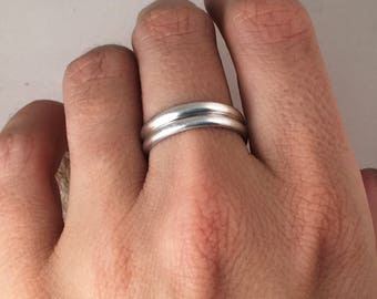 Double Silver Band, Silver Band, Thumb Ring, Sterling Silver Ring,  Stacking Ring