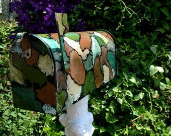 Handpainted Mailbox with Camouflage or Patchwork