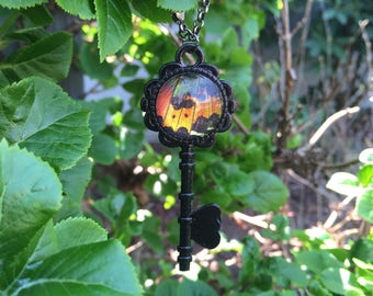 Real Sunset Moth Key Necklace