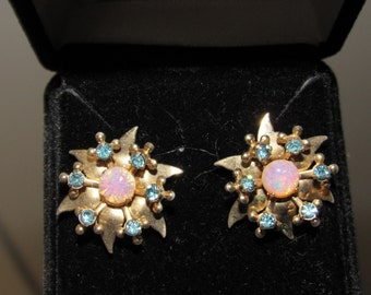 Vintage 1940 Brass, Blue Crystal abd Faux Opal Earrings - converted from screw-on to pierced