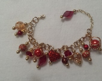 Red and Gold charm bracelet