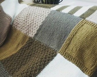 Khaki knitted throw - afghan - knitted afghan