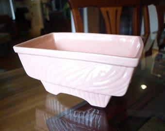 Vintage Pink Cookson Pottery Planter USA Made – Wood Grain Pattern Planter / Pot