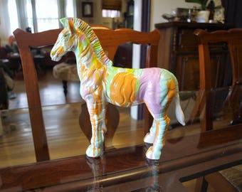 Zebra Sculpture with Multi Color Drip Glaze
