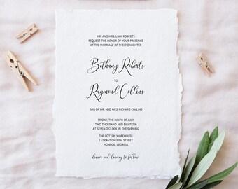 Wedding Invitations, Printable Wedding Invitations, Wedding Invitation Suite, DIY Wedding Invitations, Traditional Wedding Invitations