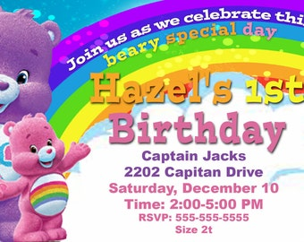 Carebears Birthday Party Invitation