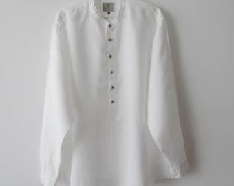 Extra Large Size Mens Shirt Mandarin Collar Shirt White Linen Shirt Summer Long Sleeve Chemise Button Up Shirt Button Down Country Shirt
