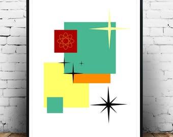 Mid Century Modern Design Art Print, Eames Style Art Print, Mad Men Decor, Vintage Style Art Print, Vintage Eames Art, Vintage Style Art