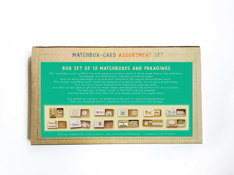 Assorted All Occasion 3xu Matchbox Cards Box Set 12 Pack Fun