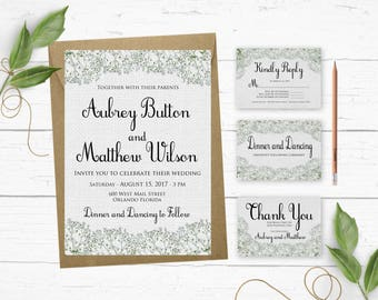 Burlap Wedding Invitations- Wedding Invitation Printable- Rustic Wedding Invitation Template- Printable Wedding Invitation Suite-