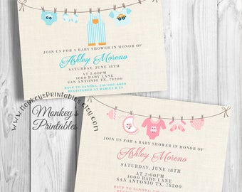 Baby Shower Invitation, Baby Shower Invites Girl, Baby Shower Invites Boy, Clothesline Baby Shower Invitation, Printable Invitation, DIY