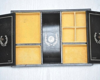 Vintage Black Leather Jewelry Box Nitetray Valet by Swank 3 Compartments Roman Theme Mid Century Modern Trinket Box Home Decor