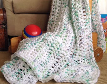 FREE POST in Australia, Crochet Handmade Baby Blanket for Sale,Lightweight Lacy Baby Blanket,White Aqua Grey Baby Shawl,Baby Shower Pram Cot