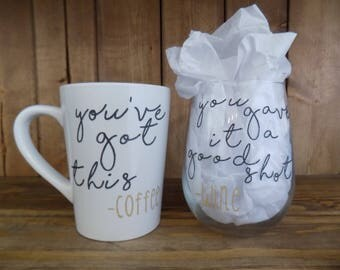 Coffee mug & Wine glass combo