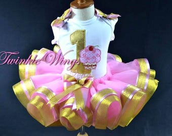 Baby girl's 1st 2nd 3rd 4th 5th 6th birthday Cupcake dress Soft pink and  gold cupcake top and ribbon tutu outfit 12m 24m 2T 3T 4T 5T 6T