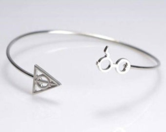 Harry Potter Deathly Hallows cuff bangle bracelet.