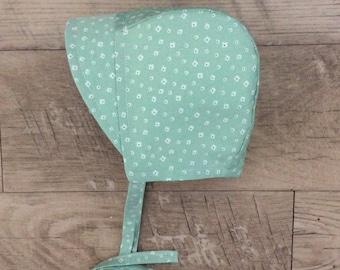 Baby Bonnet / Green Bonnet / Floral Bonnet / Baby Hat / Sunhat / Sunbonnet / Baby Girl Bonnet / Cotton Bonnet