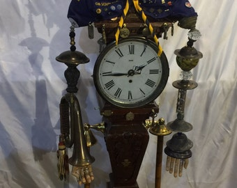 Boy Scout Time keeper assemblage  clock standing clock assemblage  assemblage clock assemblage one of a kind different unique assemblage