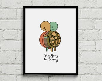 Stay Young, Go Dancing Art Print - Turtles - Death Cab For Cutie - Art Print