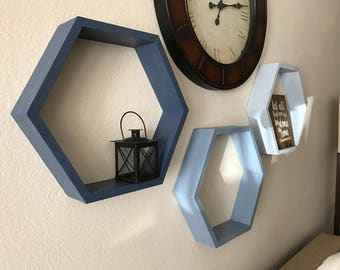 "Set of 3 Honeycomb Shelves (4"" Depth), Hexagon, Medium Sized"