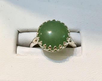 USA-FREE SHIPPING!! Sterling Silver Green Aventurine Ring