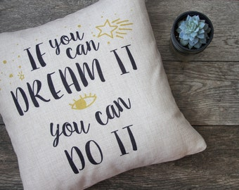 Inspirational Text Pillow Cover, Decorative Pillow Cover, Throw Pillow, Pillow Cushion, Sofa Pillow, House Warming, Cushion Cover