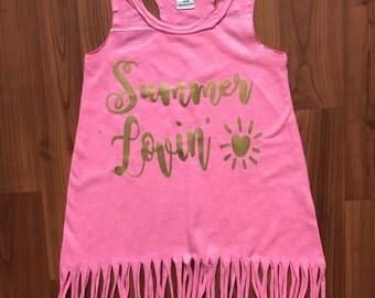 Baby & Girl Pink Summer Lovin' Fringe dress