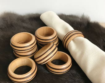Set of Eight Vintage Wood Napkin Rings, Table Decor