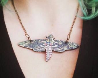 Moth, Moon, Lunar, Necklace, Adjustable, Wood, Vintage, Witch, Occult, Spirit, Butterfly, Wings, Insect, Boho, Festival, Wanderlust, Goddess
